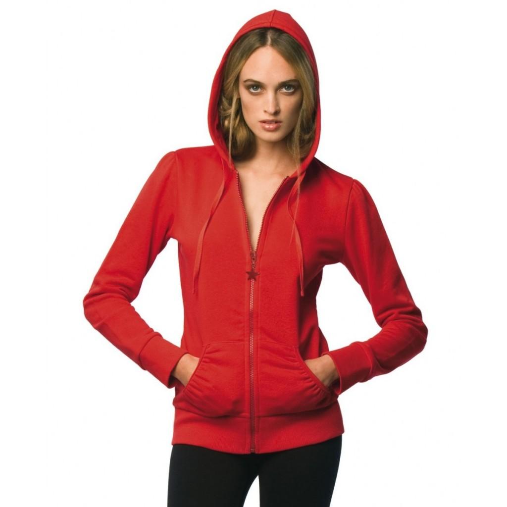 sweet shirt capuche rouge femme
