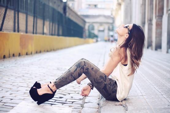 pantalon femme camouflage