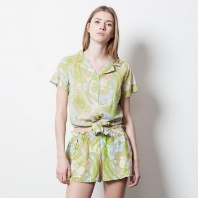 jupe short imrpimé vert