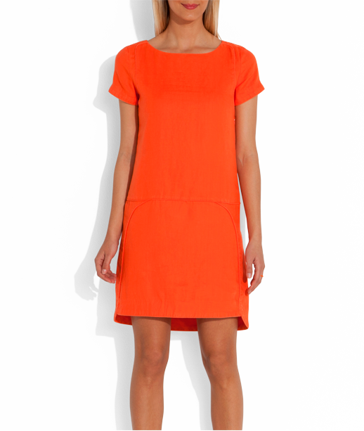 robe en lin manche courte corail